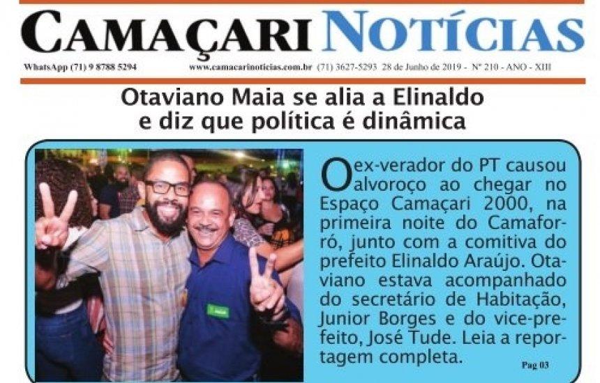 [Edição 210 do jornal impresso Camaçari Notícias aborda aliança entre Otaviano Maia e Elinaldo]
