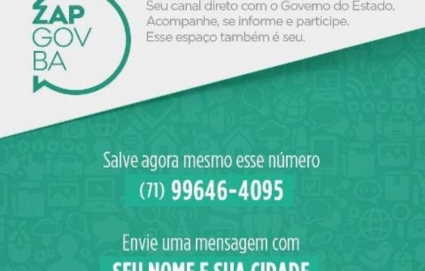 [Governo do Estado da Bahia lança WhatsApp para divulgar informações]