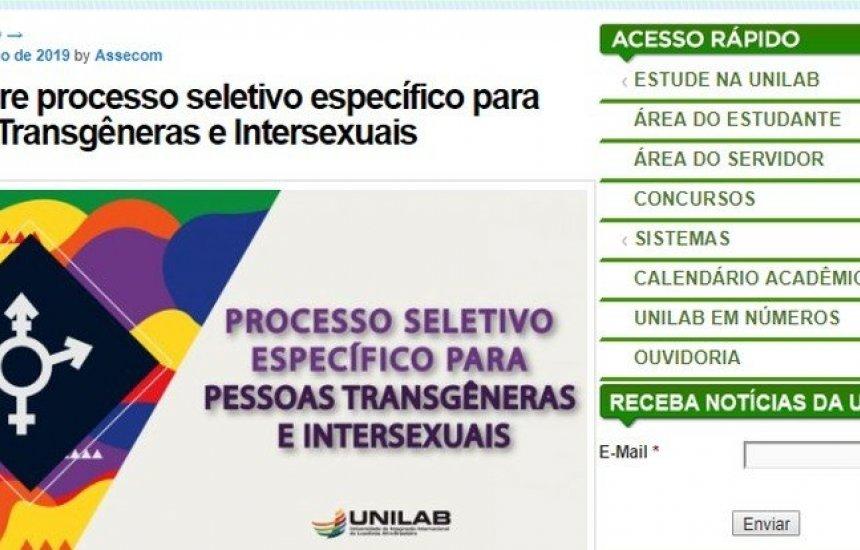 Universidade cancela vestibular para transgêneros e intersexuais após MEC pedir
