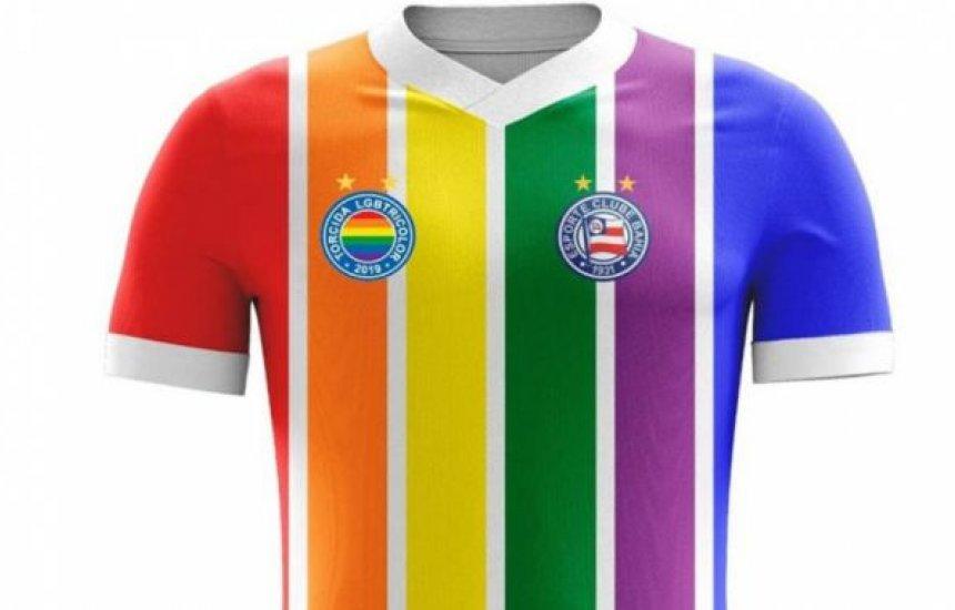 [Torcida LGBTricolor lança camisa temática com escudo do Bahia]