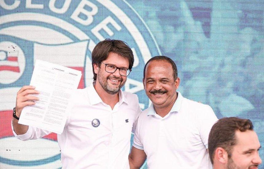 [Presidente do Bahia e prefeito de Camaçari dialogam sobre projetos sociais para a comunidade]