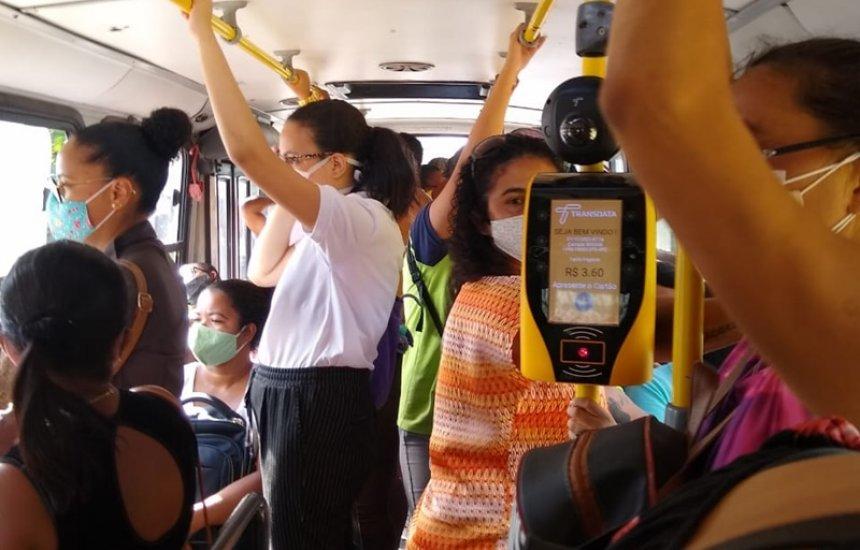 [Moradora de Jauá pede melhorias no transporte público: 'Ônibus superlotado']