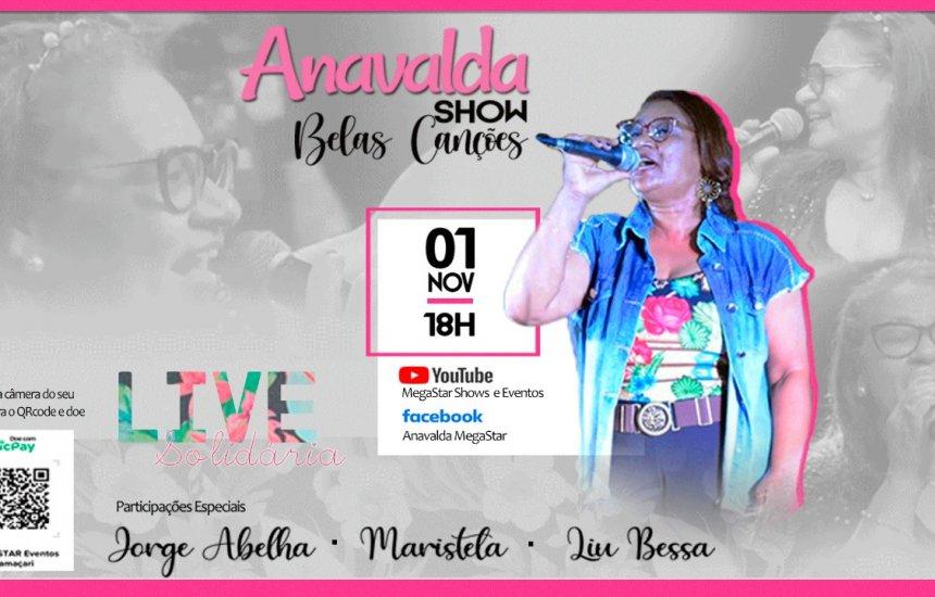 """[Acontece neste domingo (01/11) o show """"Anavalda In Live SOLIDÁRIA""""]"""