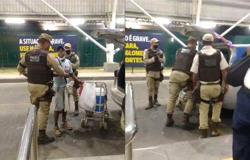 [Ambulante é detido por PMs por desrespeitar toque de recolher: 'Não me machuquem']