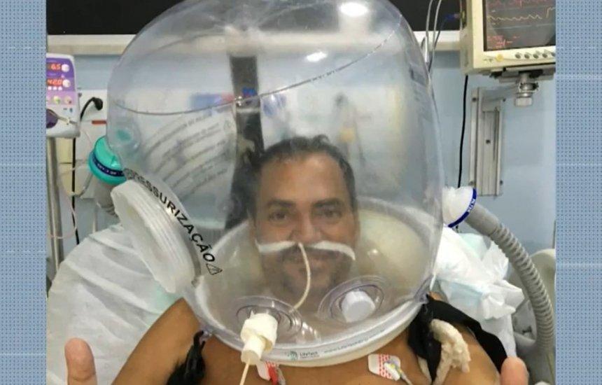 [Capacete de ventilação é usado em pacientes com Covid-19 na BA e médico fala em redução no tempo de internação]