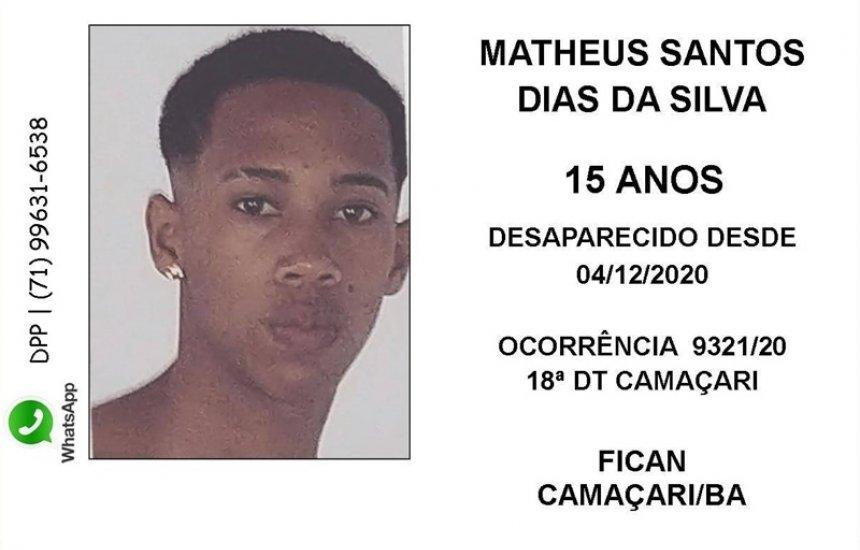 [Camaçari: família procura por jovem de 15 anos desaparecido desde dezembro de 2020]
